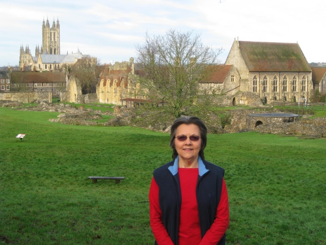 002 -2013_01_05 St Augustine Abbey-Suzanna with Canterbury Cathedral in background